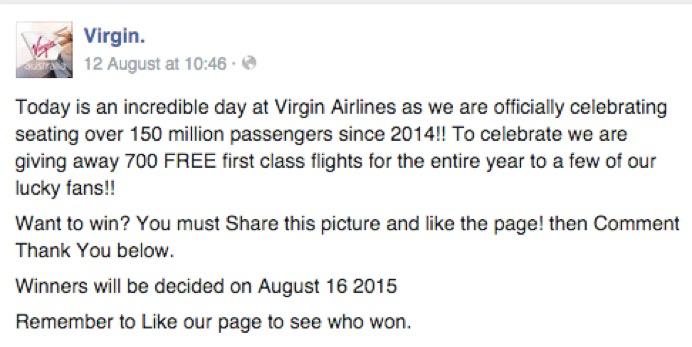 Virgin Airlines Facebook Update