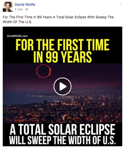 A 'raw food' celebrity who posted an eclipse info slideshow