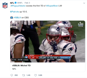 Super Bowl 53 Patriots up 10-3 tweet