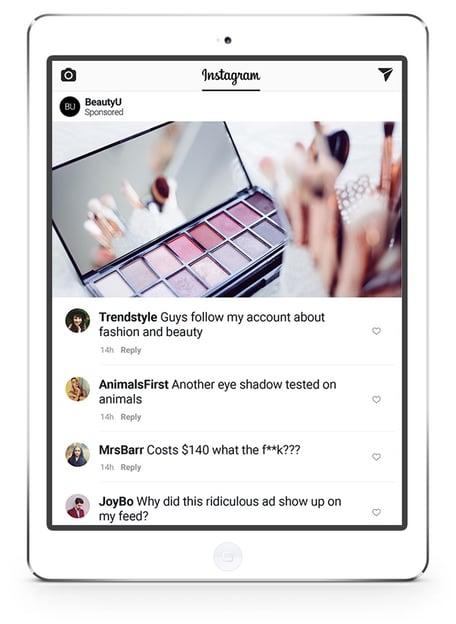 Instagram advert comments - beauty brand