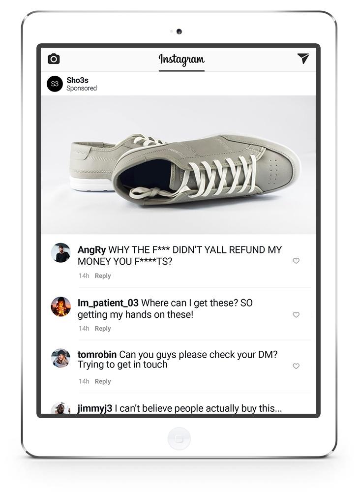 Instagram advert comments - shoes