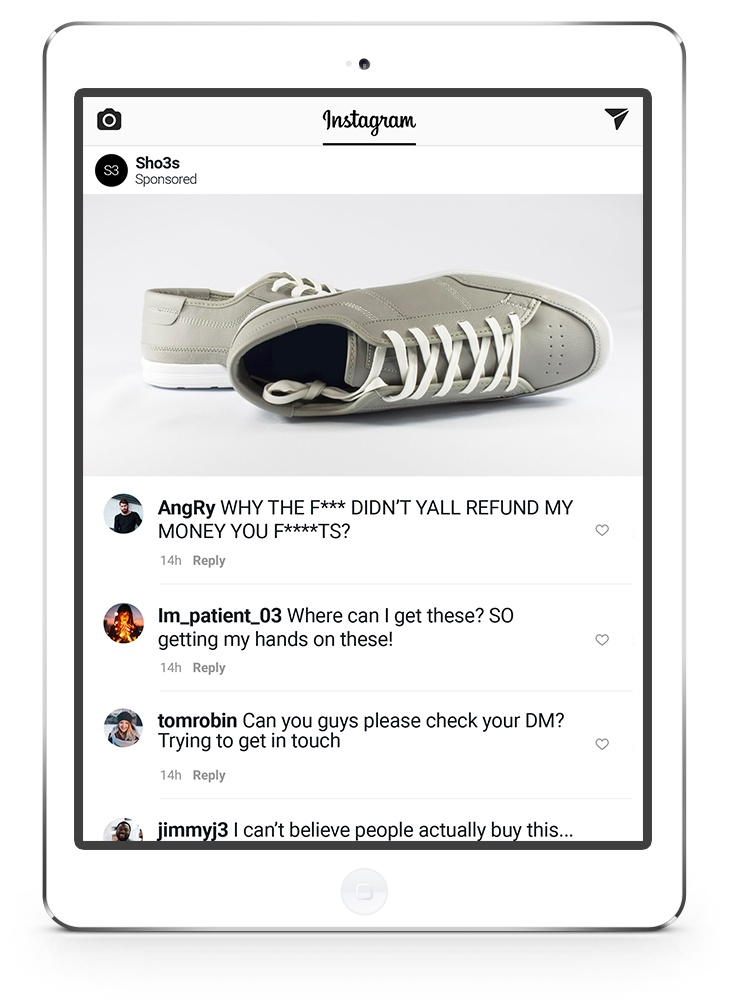 Instagram advert comments - shoes