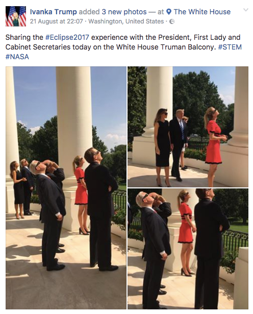Ivanka Trump's post and White House pics