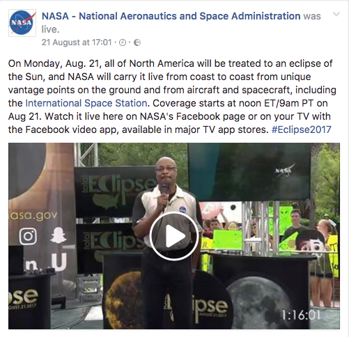 Nasa's live eclipse video post